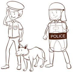Police with shield and dog