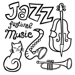 Cartoon Jazz music festival element set. Lettering. Cat, saxophone, contrabass, trumpet. For design poster and print.