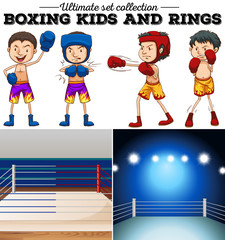 Boxers and ring in blue and red
