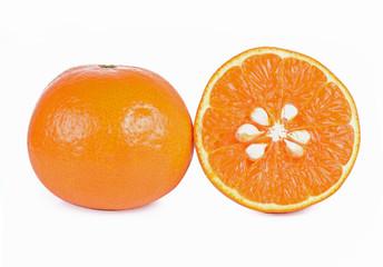 Wall Mural - Orange fresh fruit on white background