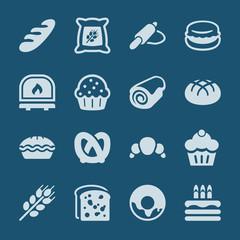 bakery icons set blue