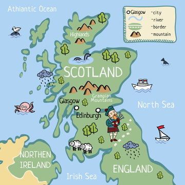 Cartoon vector doodle map of Scotland for kids. For tourist guide or children book.