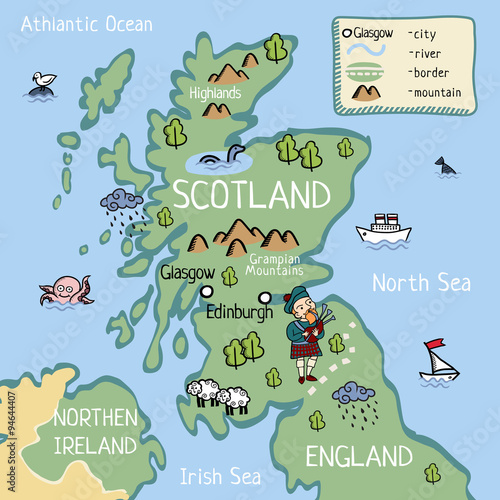 Cartoon vector doodle map of Scotland for kids For tourist guide – Scotland Tourist Map
