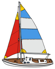 Sailing yacht / Hand drawing, vector illustration
