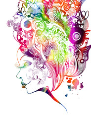 Beautiful fashion women with abstract and floral elements