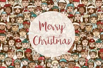 Weihnachtskarte mit vielen handgezeichneten Menschen