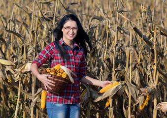 Woman in corn field