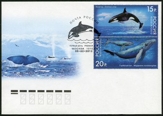 RUSSIA - 2012: shows Humpback Whale and Killer Whale