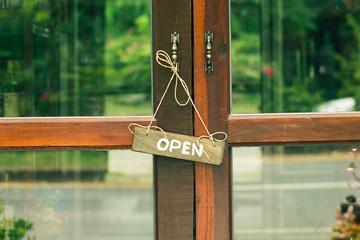 Sign wood door Close Open Vintage tone