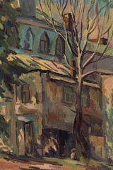 City street. Oil painting
