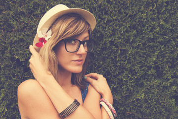 Portrait of young beautiful hipster girl.