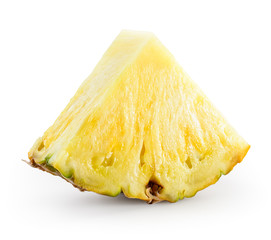 Fresh pineapple piece isolated on white. With clipping path.