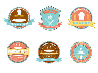 Retro bakery emblem set.