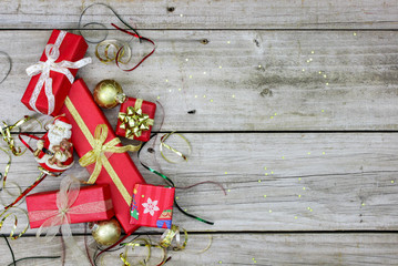 Christmas presents border rustic wood background