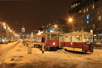 Historically Tramway in snowy Prague in the Night