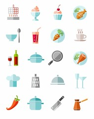 Kitchen, cooking, color icons.