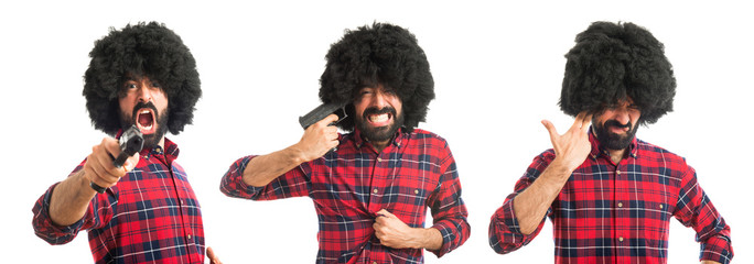 Afro man cometing suicide