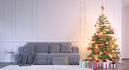 Sofa beside a christmas tree - ensemble mit sofa und Weihnachtsbaum