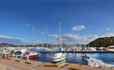 Yachts anchored at the Marina di Portisco, Sardinia, Italy