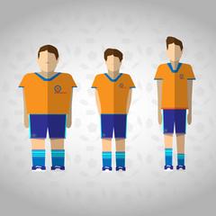 Football Players in Orange Sportswear