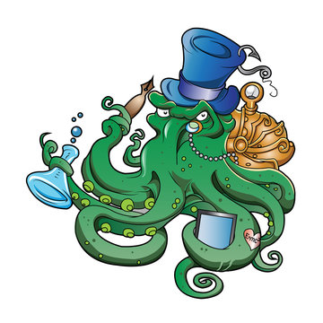 The original illustration of Steampunk octopus
