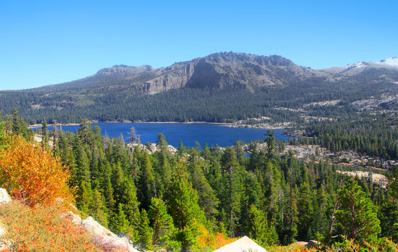 Scenic Silver lake landscape in California