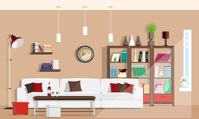 Cool graphic living room interior design with furniture: sofa, chairs, bookcase, table, lamps. Flat style vector illustration.