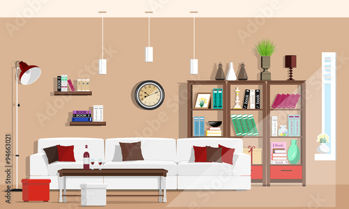 Cool Graphic Living Room Interior Design With Furniture: Sofa, Chairs,  Bookcase, Table