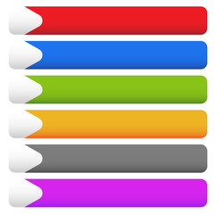 Set of blank rectangular button backgrounds with arrows