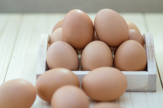 Eggs, chicken egg in wood box