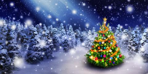 Wall Mural - Weihnachtsbaum im schönen Schnee