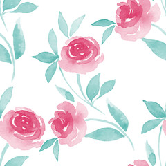 Pattern of Roses. Watercolor background 2 in vector