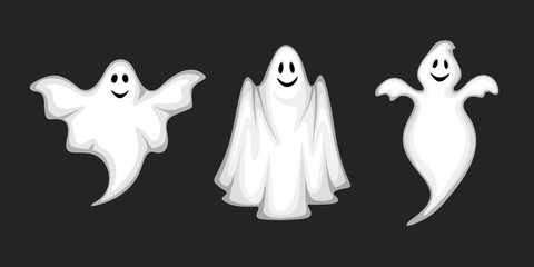 Set of three vector white ghosts isolated on a black background. Wall mural