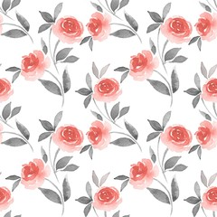 Pattern of Roses. Watercolor background 4