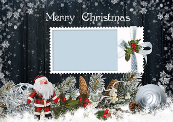 Christmas card with frame, Santa Claus, pine branches and Christmas decorations