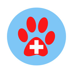 Veterinary clinic symbol paw of the animal.