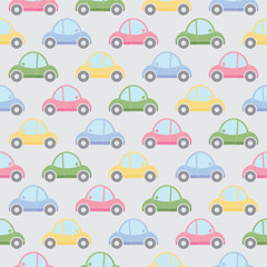 Seamless pattern of cartoon cars