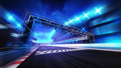 Poster Motorise finish gate on racetrack stadium and spotlights in motion blur