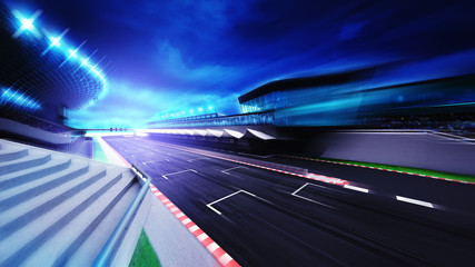 Door stickers Motor sports race circuit finish section in evening motion blur