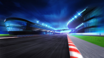 race course with and main stadium at motion blur