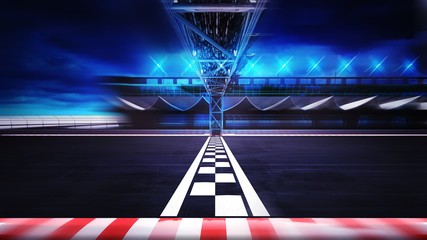 Wall Murals Motor sports finish line on the racetrack in motion blur side view