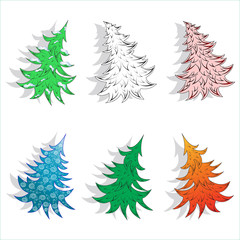 Templates of New Year trees.