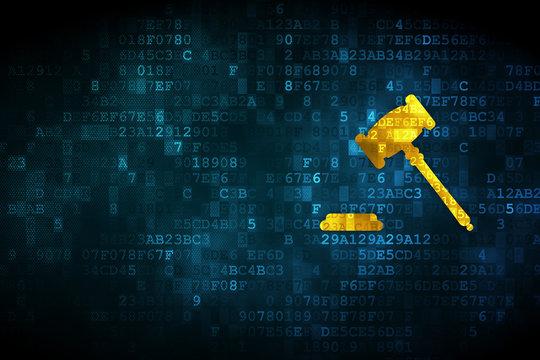Law concept: Gavel on digital background