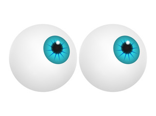 Eyeball with blue pupil, iris. Realistic human body part set. Vector illustration isolated on white background.