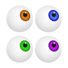Eyeball with colorful pupil, iris. Realistic human body part set. Vector illustration isolated on white background.