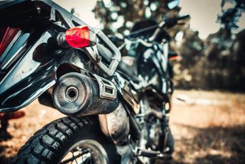 Closeup photo of old motor bike outdoor