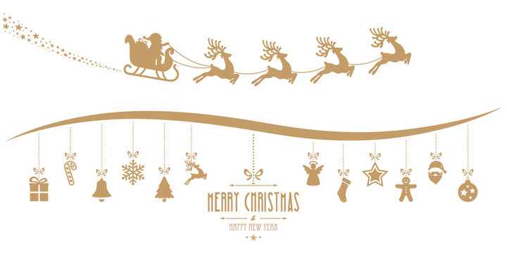 santa claus sleigh christmas elements hanging gold isolated back