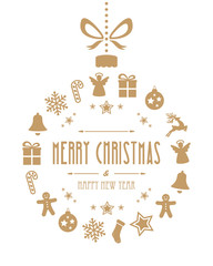 christmas ball ornaments gold isolated background
