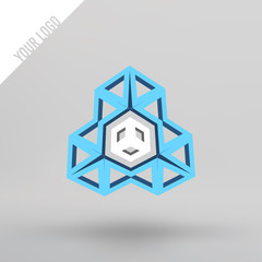 Abstract vector 3d logo. Arches in perspective projection. Figure of triangles for your design