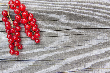 Red currants on a wooden texture